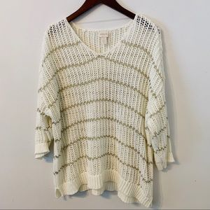 Chicos Size 3 Open Knit Sweater White/ Gold